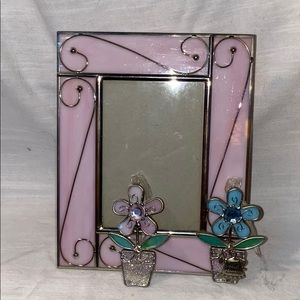Other - Stained Glass Picture Frame with Flower Pot Charm